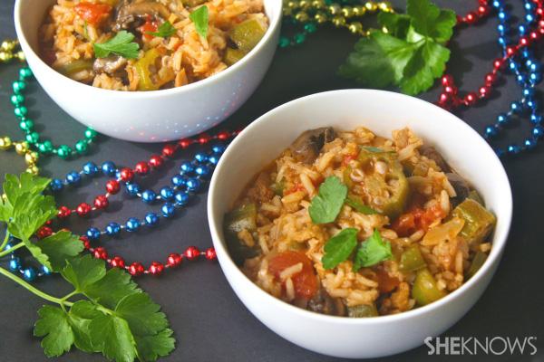Vegan Mardi Gras jambalaya