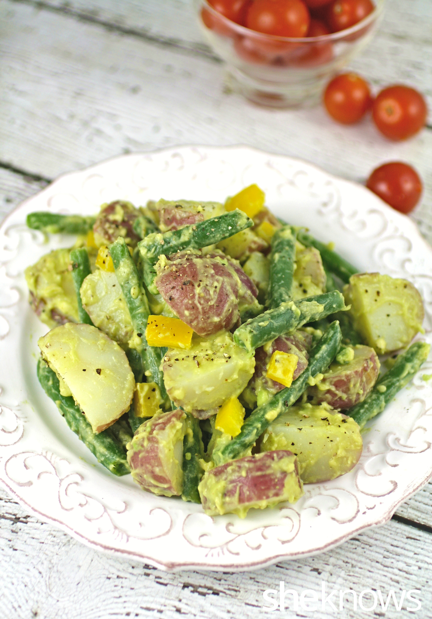 Get ready for your next gathering and serve this Meatless Monday vegan potato salad with avocado dressing