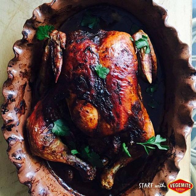 Vegemite roast chicken