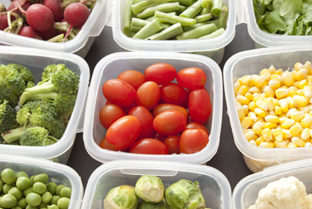 Vegetables in storage containers