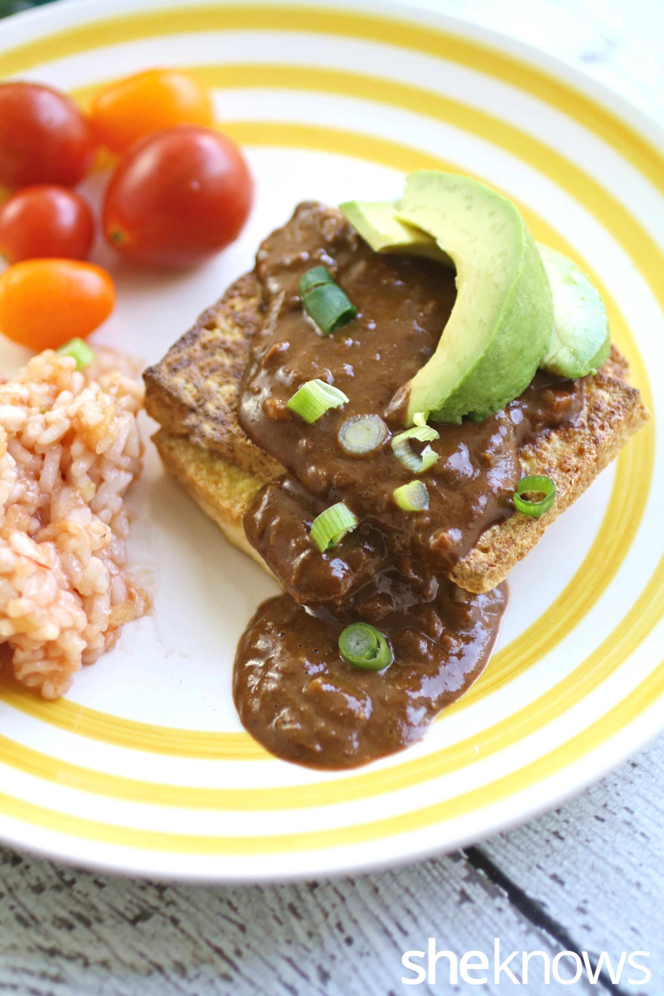Meatless-Monday-seared-tofu-mole-sauce