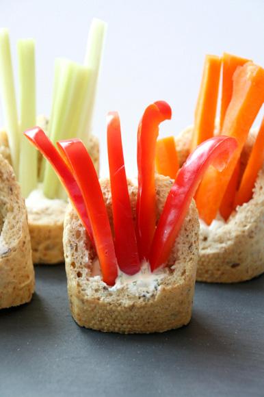 Veggies and dip in a baguette recipe