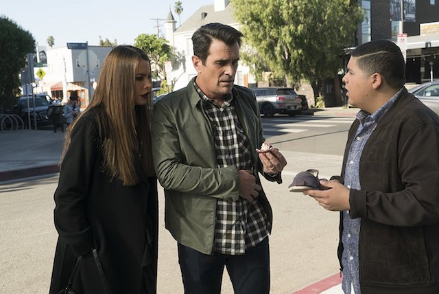 Still of Ty Burrell, Sofia Vergara and Rico Rodriguez on 'Modern Family'