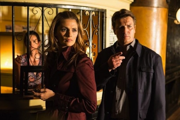 Stana Katic and Nathan Fillion castle