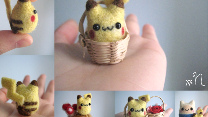 Miniature kawaii felted characters for the