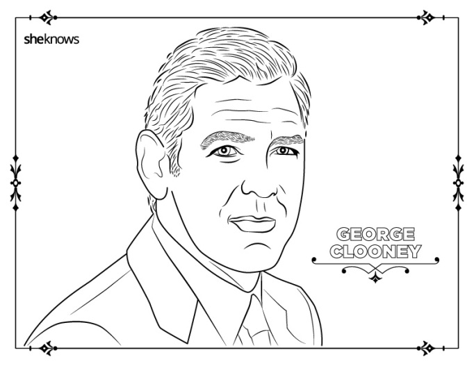 George Clooney coloring book page
