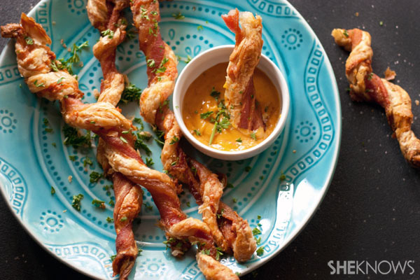 Best Super Bowl Snacks: Cheesy Bacon-Wrapped Hot Dogs