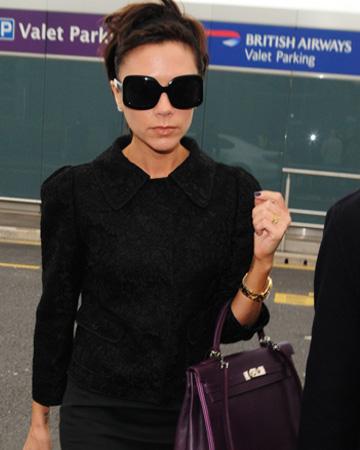 Victoria Beckham at Heathrow International Airport