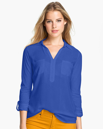Mixed media shirt by Vince Camuto