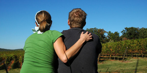 Couple on a Vineyard date