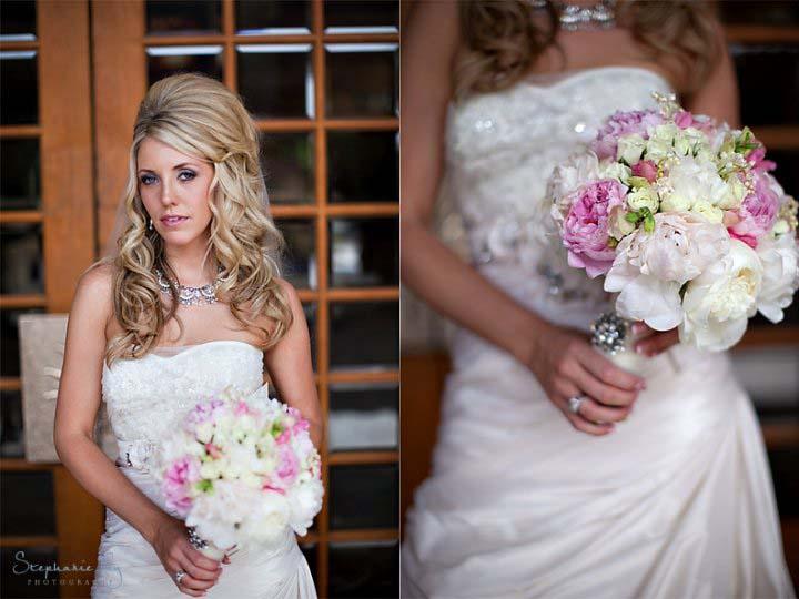 Vintage bridal style - bride wearing elaborate bib necklace