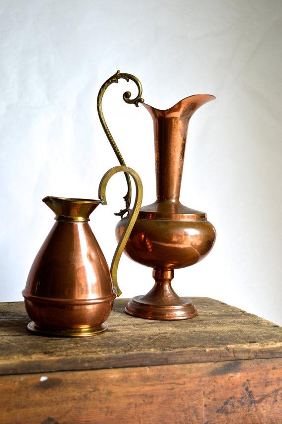 Vintage copper pitchers