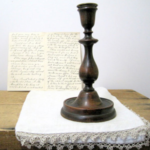 Vintage mahogany candlestick