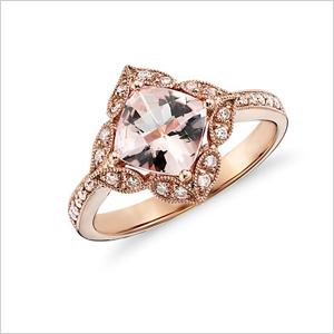 vintage morganite and diamond ring