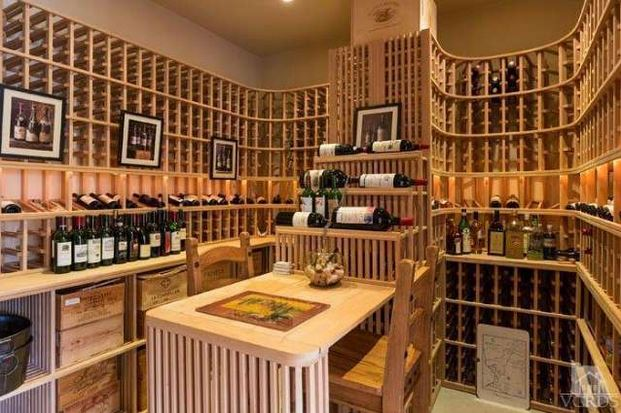 Britney's pool house wine cellar
