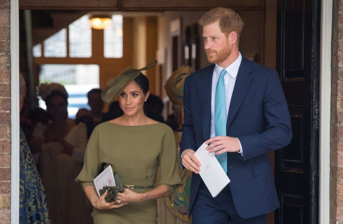 Meghan Markle and Prince Harry attend the July 9 christening of Prince Louis