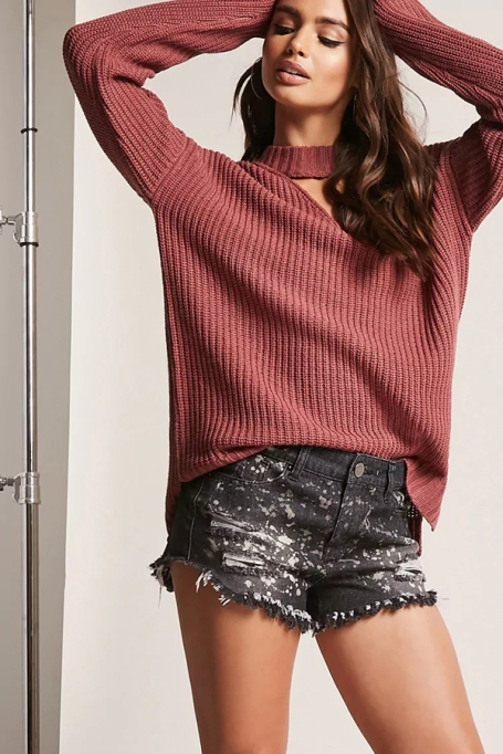 Cozy Sweaters For Under $100: Choker Neck Sweater, | Fall Fashion 2017