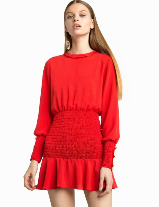 Must-Have Long Sleeve Dresses | Beatrice Red Smocked Dress
