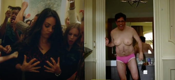 Mila Kunis and Ed Helms noticing their breasts