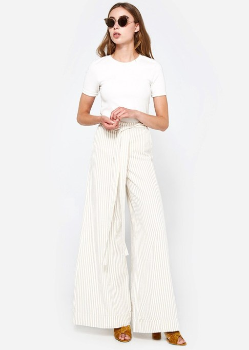 Wide Leg Pants Are Making a Comeback: Stelen Antonio Striped Pant in Khaki | Summer Style 2017