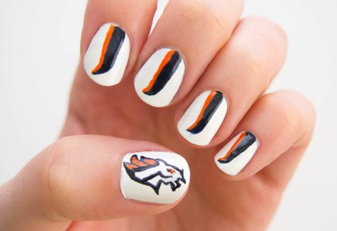 Denver Broncos manicure tutorial to take