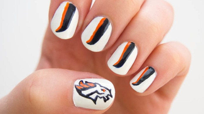 Denver Broncos manicure tutorial to take