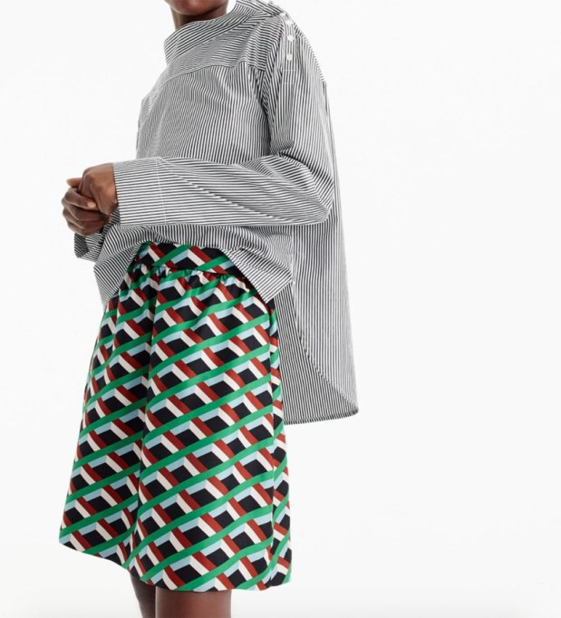Ways To Wear Graphic Prints: Diamond Print Skirt, at J.Crew   Fall Fashion