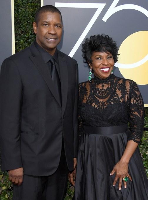 Denzel Washington and Pauletta Pearson 2018 Golden Globes