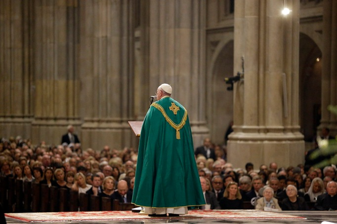 Pope Francis leads the evening prayer