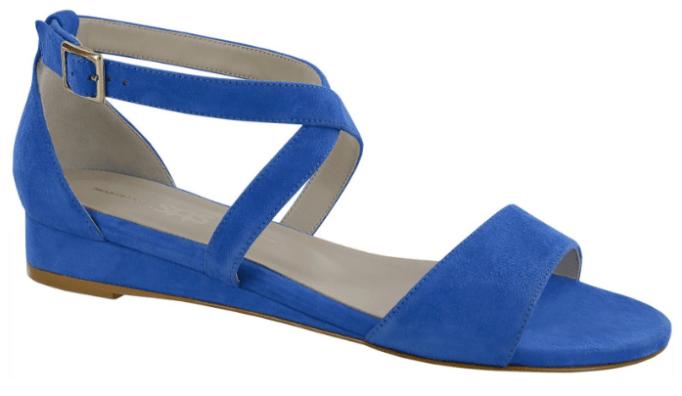 Flat blue strappy sandal
