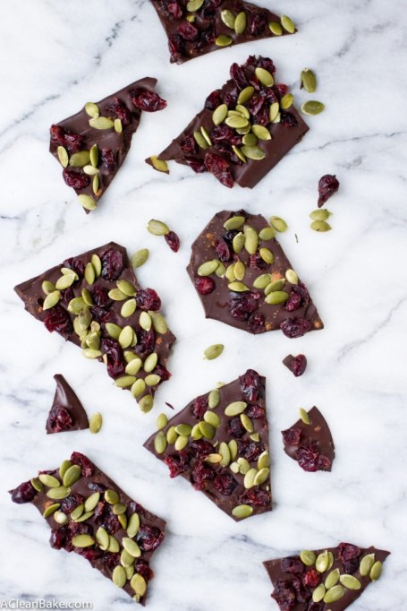 No-Bake Fall Desserts to Whip Up In a Hurry: cranberry pumpkin seed chocolate bark