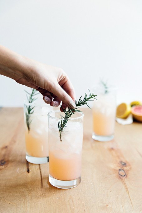 Grapefruit, elderflower and rosemary vodka cocktail