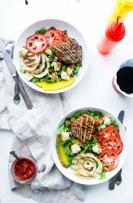 Low-carb summer lunches | healthy summer recipes | cheeseburger salad bowls