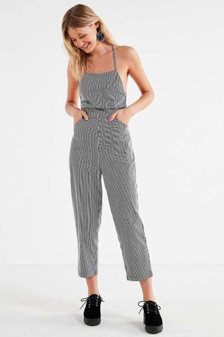 Jumpsuits You Need in Your Closet | Silence + Noise Strappy Striped Culotte Jumpsuit