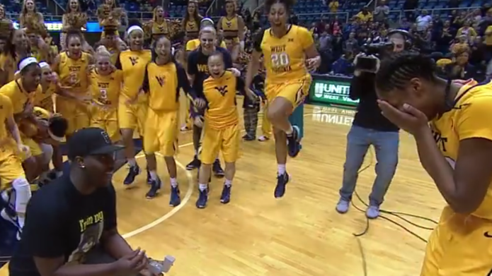 College basketball star blindsided by adorable