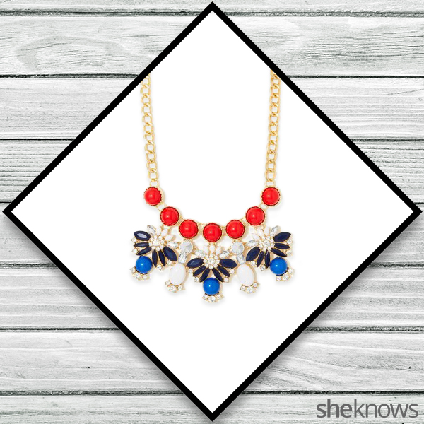 Red, white and blue statement necklace