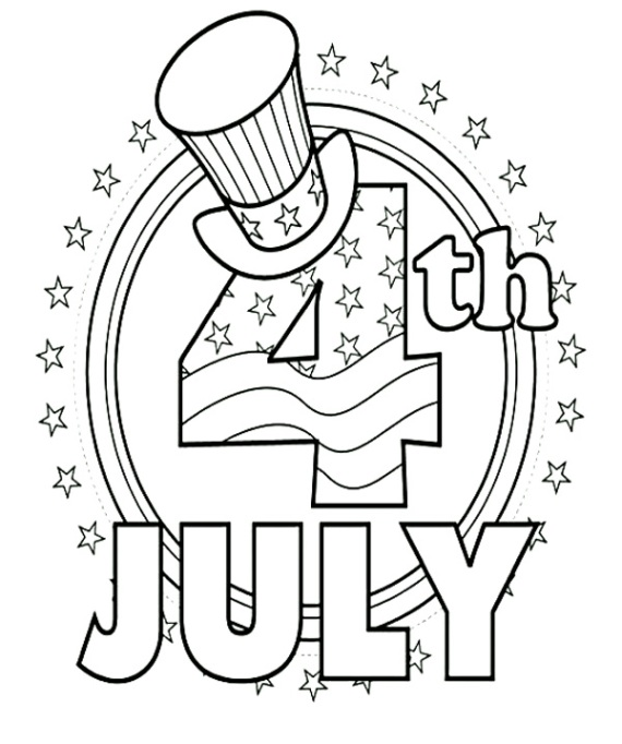 Fourth of July top hat coloring page printable