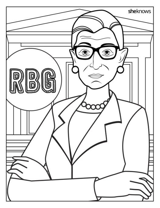 Ruth Bader Ginsburg coloring book page