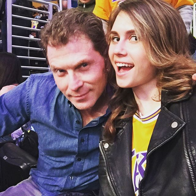 Bobby Flay and daughter Sophie at a Lakers game