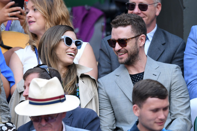 Jessica Biel and Justin Timberlake attend day eight of the Wimbledon Tennis Championships