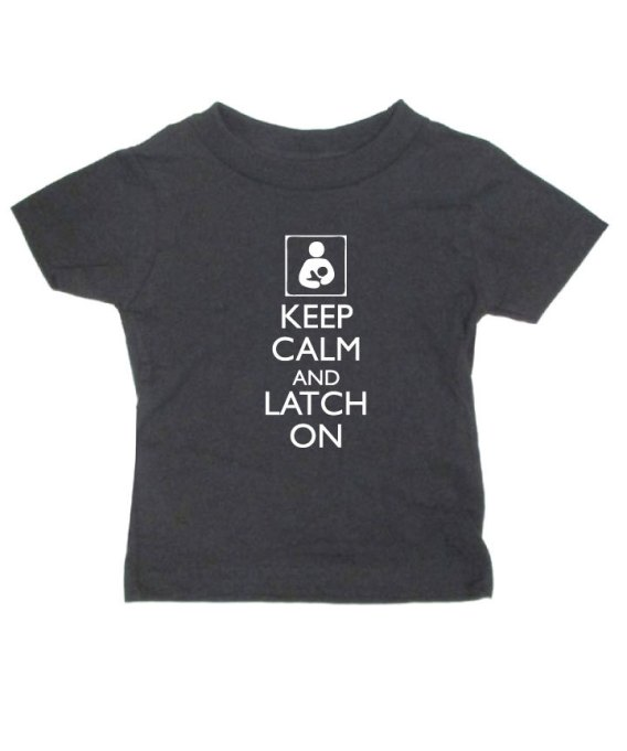 Cute kids' T-shirt 'keep calm and latch on'