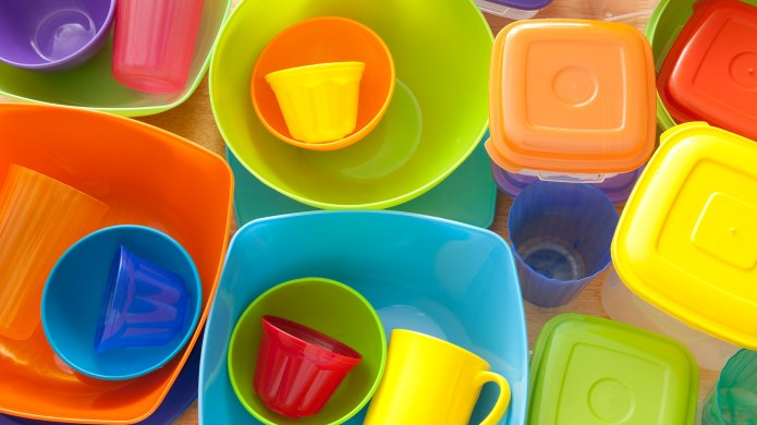 Array of colorful plastic containers and