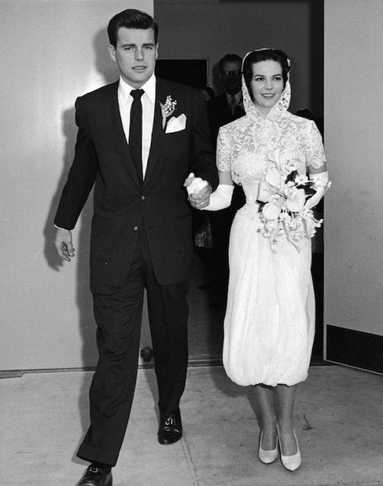 Robert Wagner and Natalie Wood leave the church holding hands just after their wedding, Scottsdale, Arizona