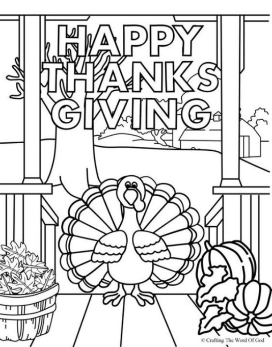 Free Thanksgiving-Themed Coloring Pages for Kids: Happy Thanksgiving