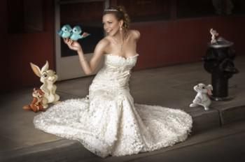 "6536d7f88 The evolution of an ""Enchanted"" wedding dress – SheKnows"