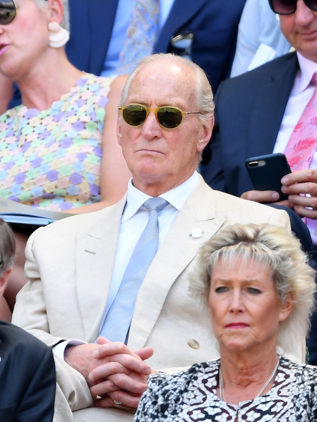 Charles Dance sits on the royal box on day two of the Wimbledon Tennis Championships