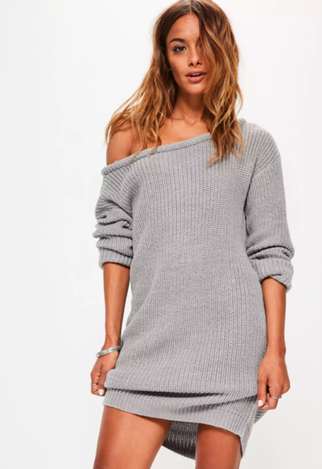 Cozy Sweaters For Under $100: Grey Off Shoulder Knitted Sweater Dress | Fall Fashion 2017
