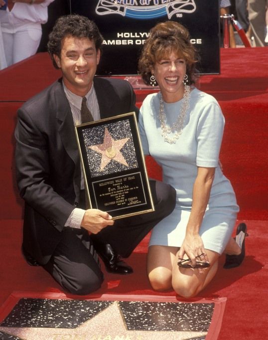 Tom Hanks and Rita Wilson on the Walk of Fame in 1992