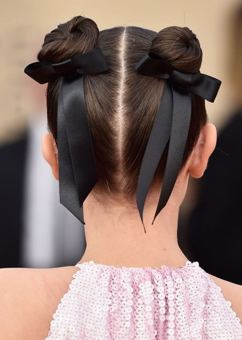Millie Bobby Brown Ribbon Buns Hairstyle