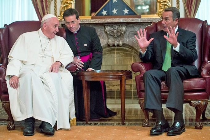 Speaker of the House John Boehner speaks with Pope Francis